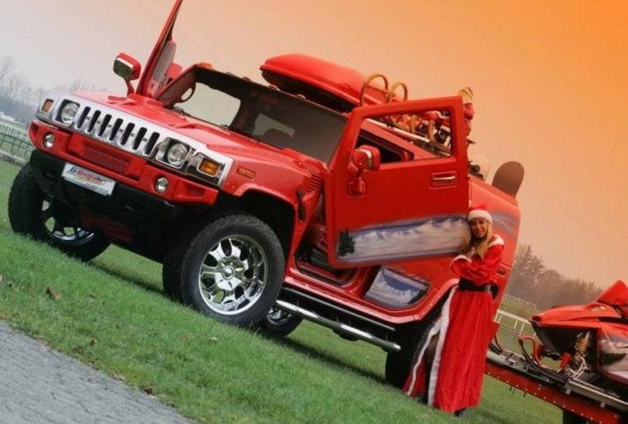 不爱武装爱红装 圣诞风格改装悍马H2