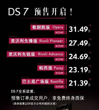 北京车展上市  DS7预售价公布21.39万起