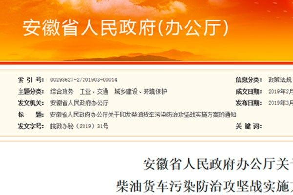 安徽提前實施國六排放標準 禁售國六以下汽柴油
