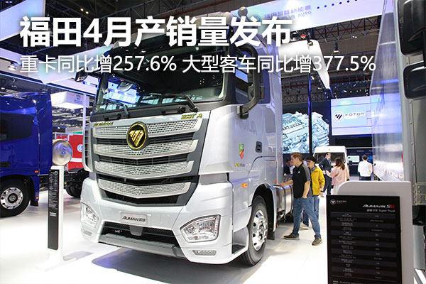 福田4月产销量发布重卡同比降-43.4% 大型客车同比增377.5%