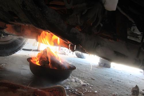 火烤被冻柴油