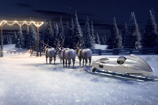 奔驰圣诞老人雪橇车