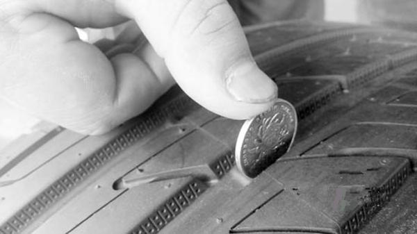 硬币测量胎纹