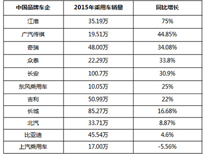2015自主品牌销量